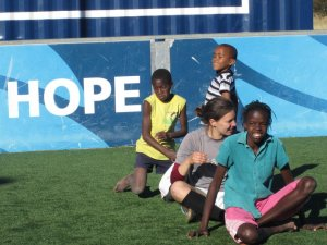 Coaches Across Continents working at the Football for Hope center with Special Olympics, Namibia
