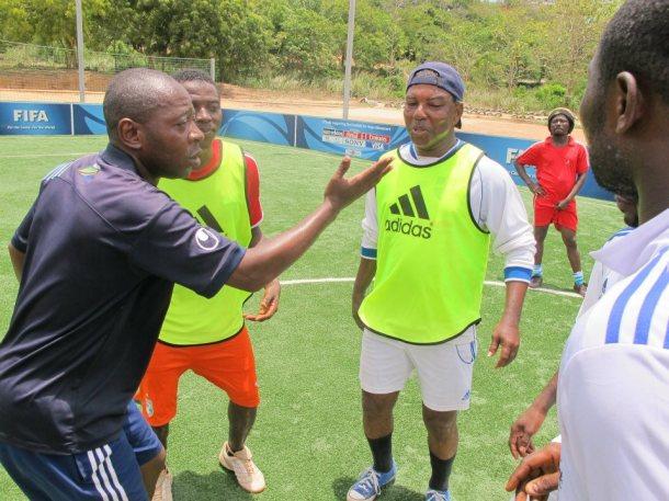Impact Coach Nicholas Achimpota from Tanzania, coaching in Ghana.