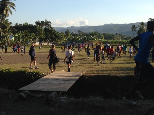 CAC coaches arriving at the field in Haiti