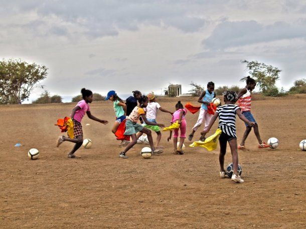 kids playing football in Cape Verde with Delta Cultura