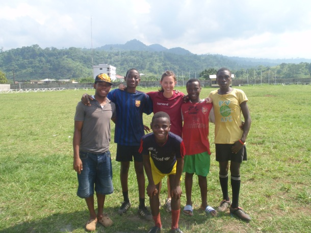 Christina Hagner (CAC) poses with some of the AVFAL soccer players