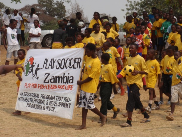 Play Soccer Zambia's parade prior to UN AIDS Day on December 1, 2010