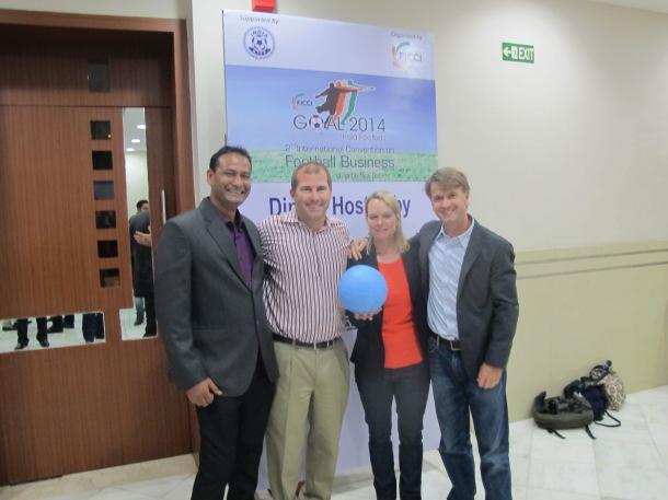 Abhijeet (Slum Soccer), Brian (CAC), and Rachel & Stephen (One World Futbol) at the FICCI Awards Dinner