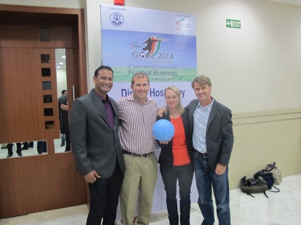 Abhijeet (Slum Soccer), Brian (CAC), and Rachel & Stephen (One World Futbol) at the FICCI Awards Dinner